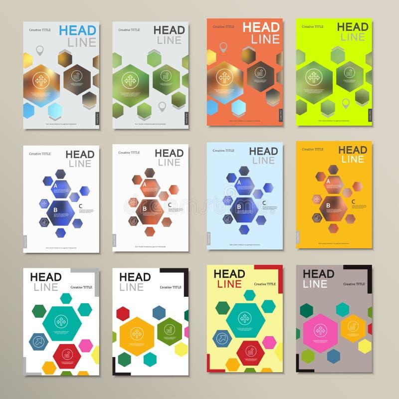 De abstracte hexagonale vormen van het ontwerpmalplaatje stock illustratie
