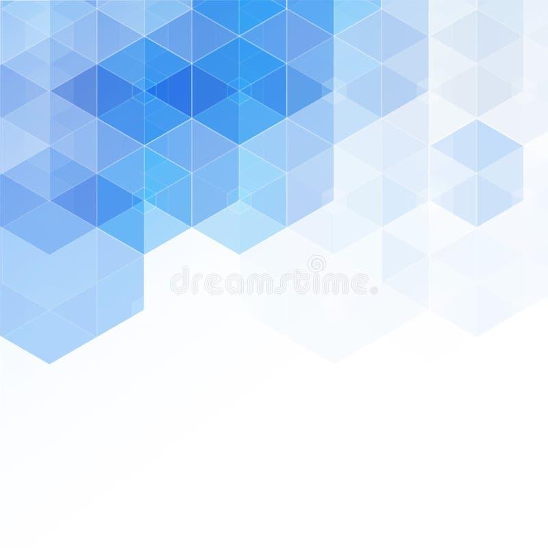 De abstracte hoge resolutieillustratie van blauw verdween hexagonale geometrische gelaagde ontwerpachtergrond perfect voor Medisc royalty-vrije illustratie