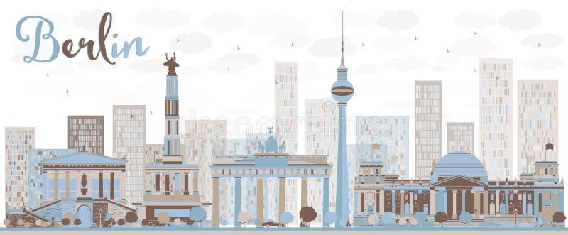 De abstracte horizon van Berlijn met de kleurenbouw vector illustratie
