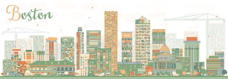 De abstracte Horizon van Boston met Kleurengebouwen stock illustratie