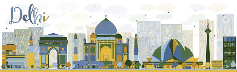 De abstracte horizon van Delhi met kleurenoriëntatiepunten royalty-vrije illustratie