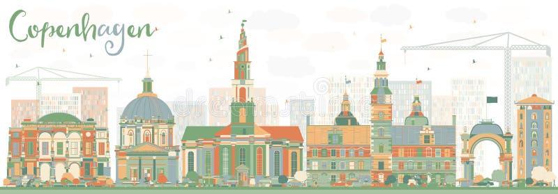 De abstracte Horizon van Kopenhagen met Kleurenoriëntatiepunten royalty-vrije illustratie