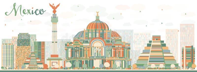 De abstracte horizon van Mexico met kleurenoriëntatiepunten royalty-vrije illustratie