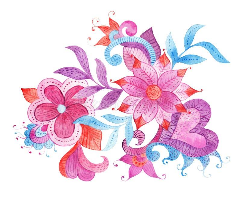 De abstracte illustratie met kleurrijke hand geschilderde waterverffantasie gaat weg en bloeit royalty-vrije illustratie