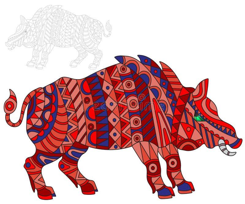 De abstracte Illustratie met rood varken, varkens en geschilderd zijn overzicht op witte achtergrond, isoleert stock illustratie