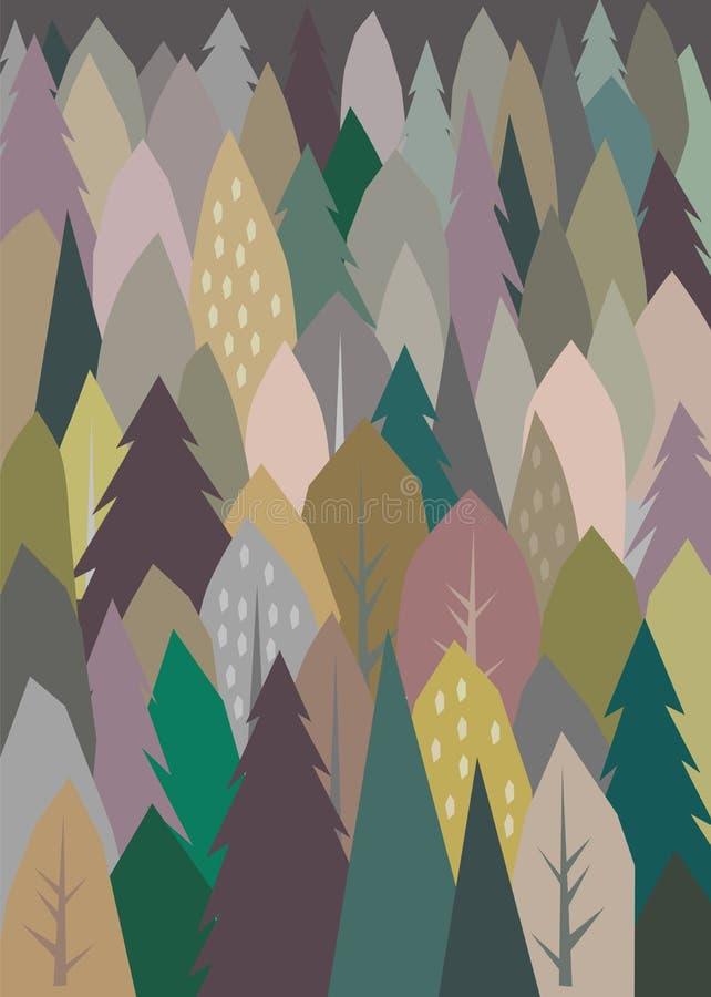 De abstracte illustratie van het bomenpatroon royalty-vrije illustratie
