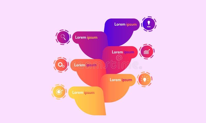 De abstracte infographic moderne het ontwerpstijl van boomgegevenselementen met markpointgrafiek denkt het doelpictogrammen van h royalty-vrije illustratie