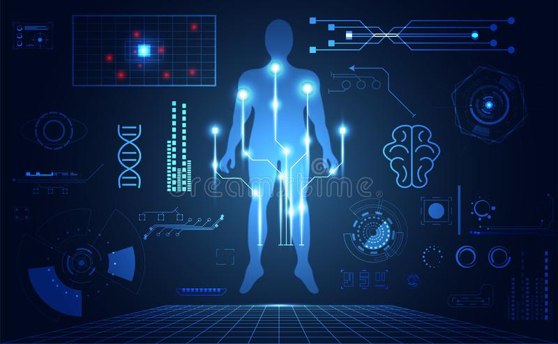 De abstracte interface van technologie ui futuristische menselijke medische hud ho royalty-vrije illustratie
