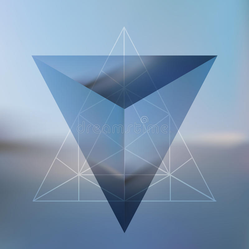 De abstracte isometrische piramide met de bezinning van environmen vector illustratie