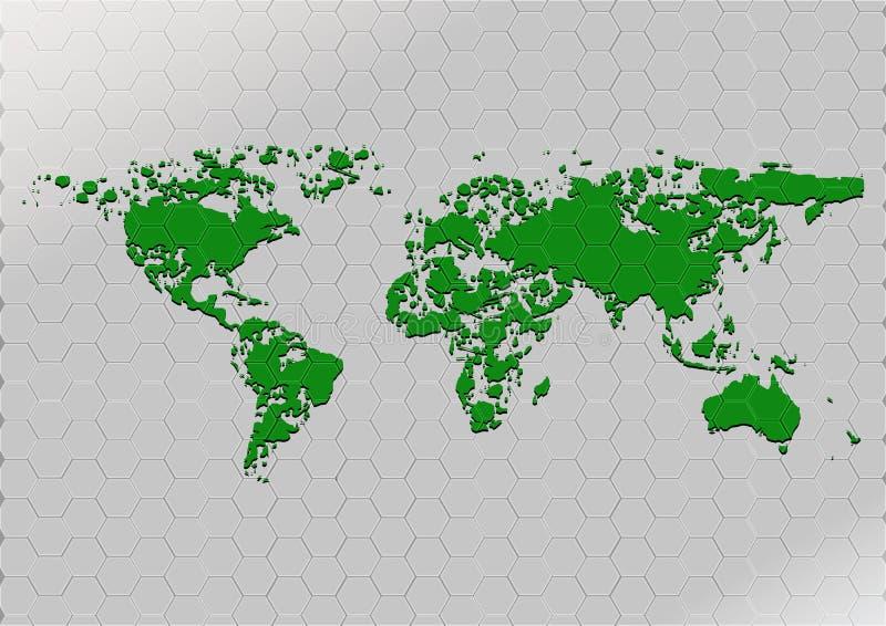 De abstracte kaart ploetert groene kleur op patroonzeshoek royalty-vrije illustratie