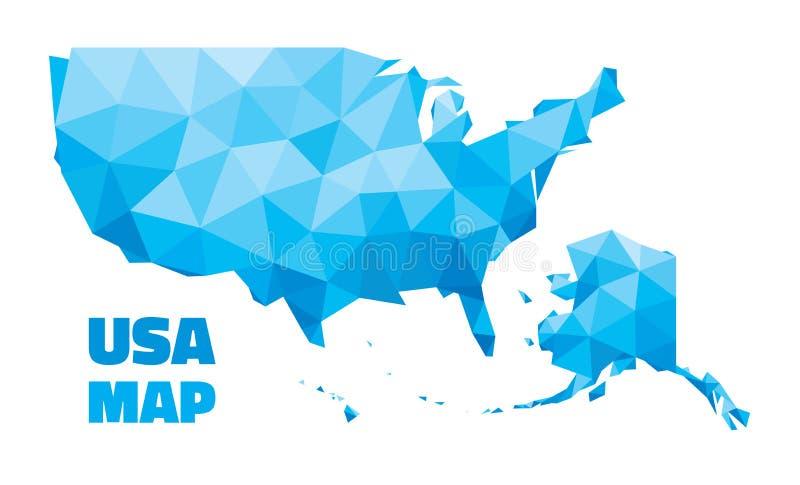 De abstracte Kaart van de V.S. - vectorillustratie - geometrische structuur in blauwe kleur vector illustratie