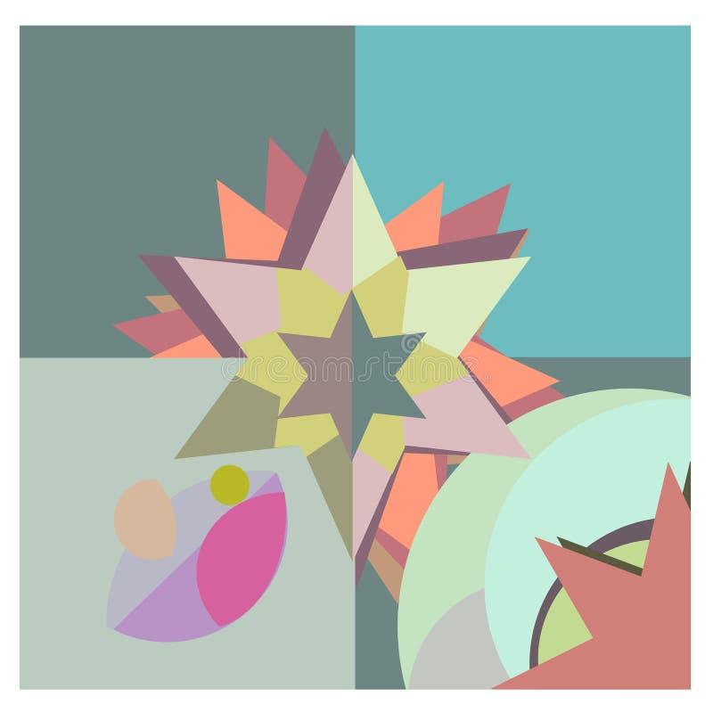 De abstracte keramische tegel van de pastelkleur geometrische bloem royalty-vrije illustratie