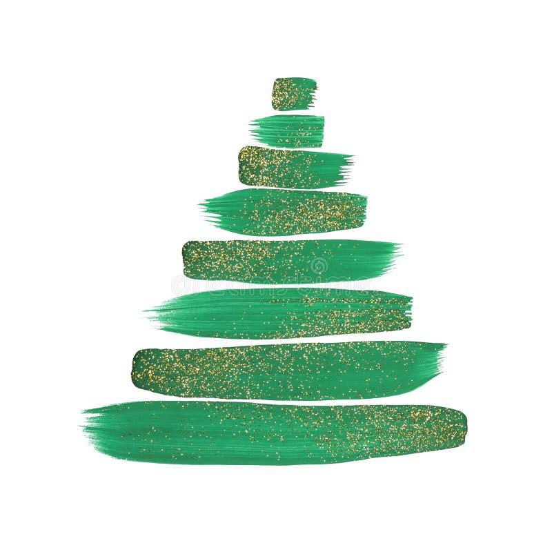 De abstracte Kerstboom met groene geschilderde slagen en het goud schitteren stock foto's