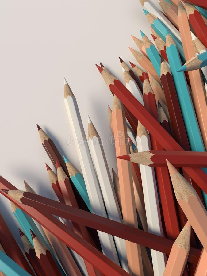 De abstracte kleurpotloden van het samenstellingsaantal op een lichte oppervlakte De achtergrond van het ontwerpmalplaatje het 3d stock fotografie