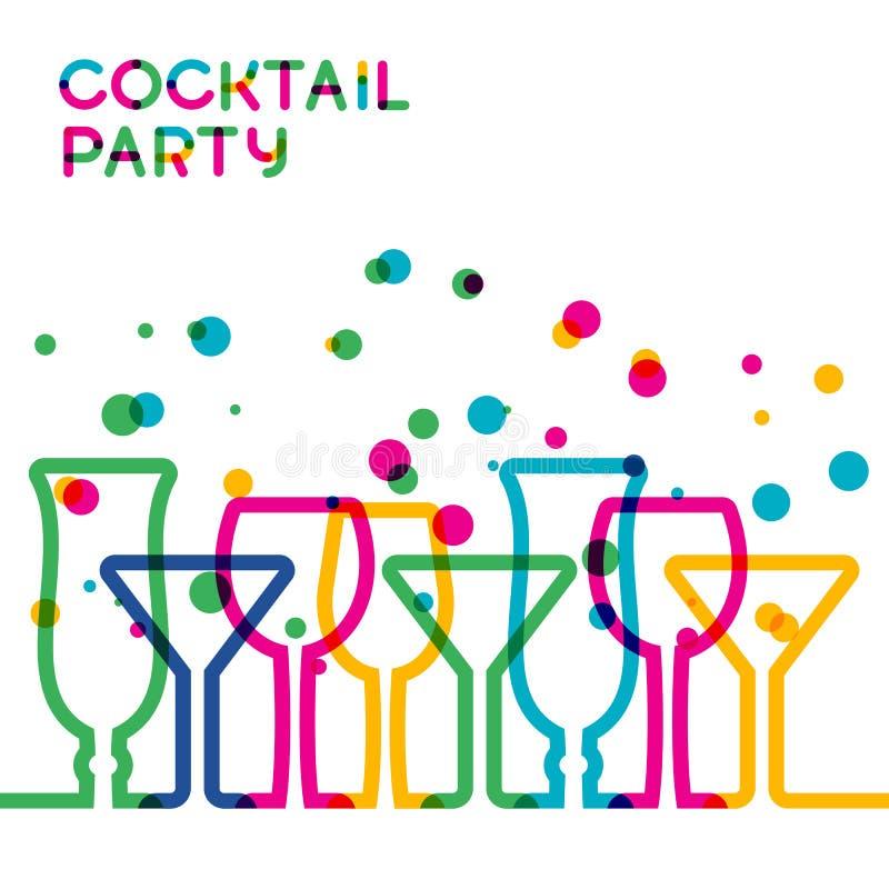 De abstracte kleurrijke achtergrond van het cocktailglas Concept voor barmensen stock illustratie