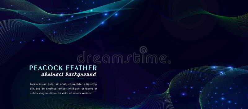 De abstracte kleurrijke achtergrond van de pauwveer met futuristische lichte punten royalty-vrije illustratie