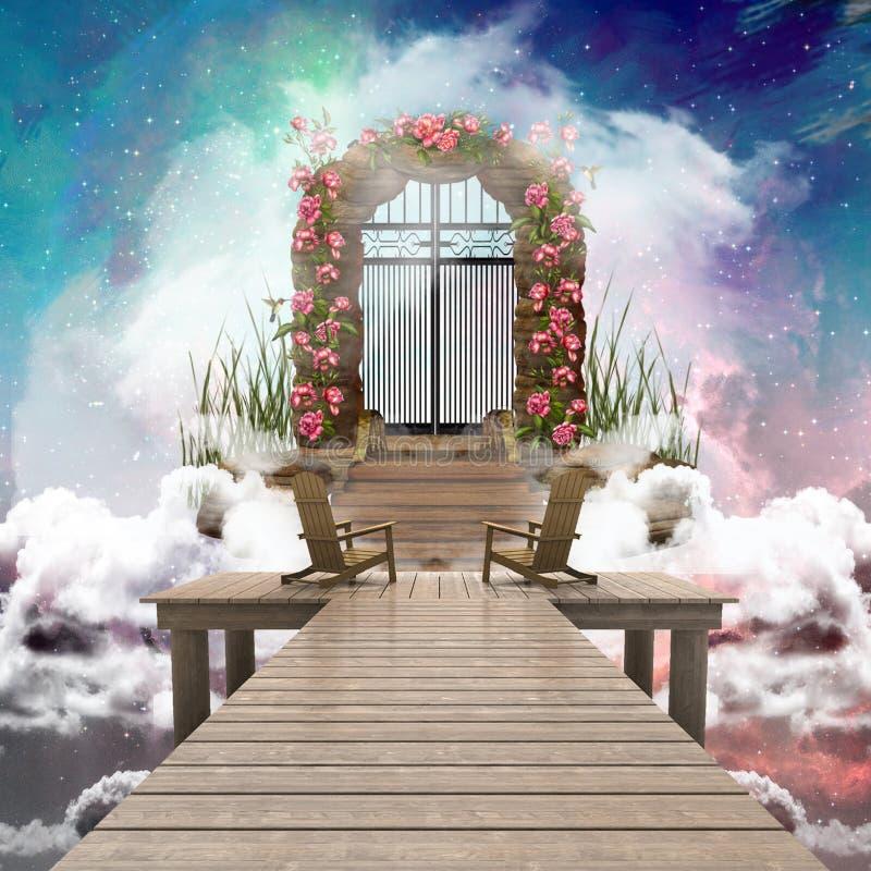 De abstracte Kleurrijke 3d het Teruggeven Computer produceerde Illustratie van een Hemelpoort die tot Een andere Afmeting leidt vector illustratie