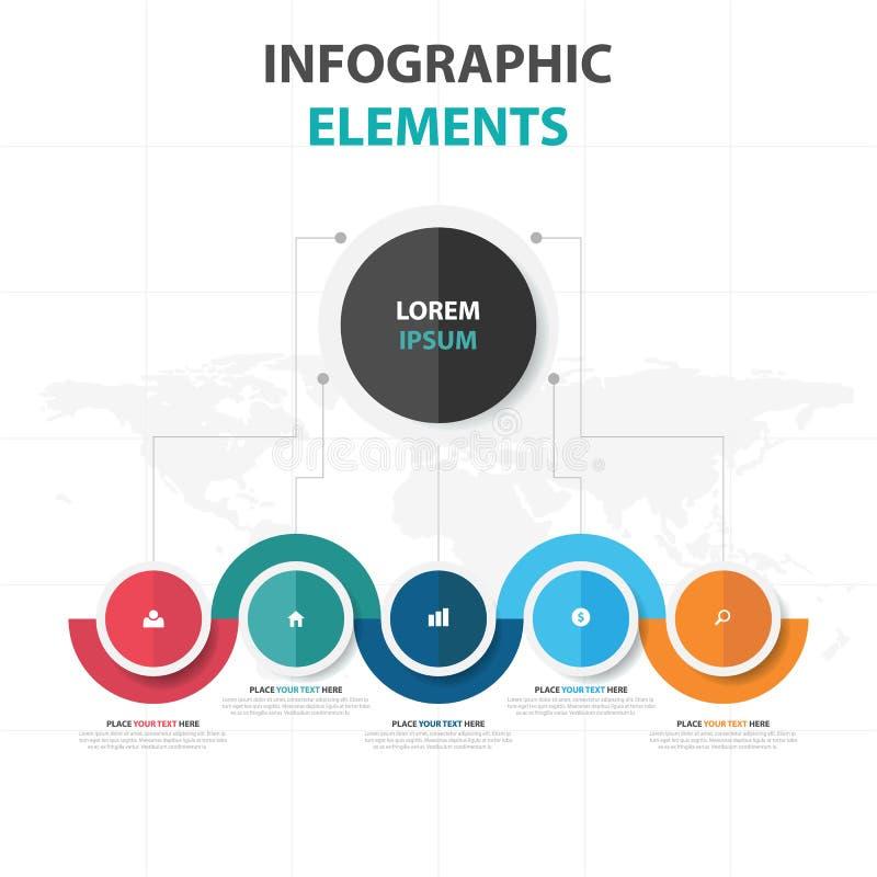 De abstracte kleurrijke elementen cirkel bedrijfs van Infographics, vlakke het ontwerp vectorillustratie van het presentatiemalpl vector illustratie