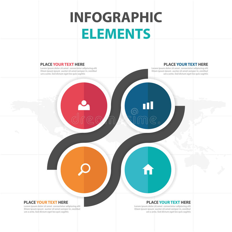 De abstracte kleurrijke elementen cirkel vierkante bedrijfs van Infographics, vlakke het ontwerp vectorillustratie van het presen stock illustratie