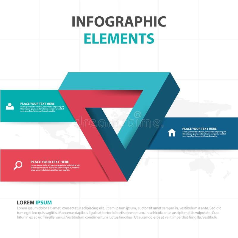 De abstracte kleurrijke elementen driehoeks bedrijfs van Infographics, vlakke het ontwerp vectorillustratie van het presentatiema vector illustratie