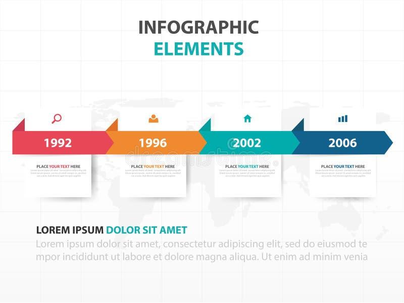 De abstracte kleurrijke elementen etiket van bedrijfschronologieinfographics, vlakke het ontwerp vectorillustratie van het presen stock illustratie