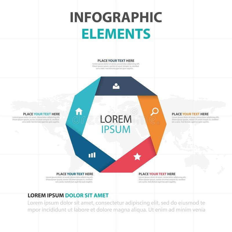 De abstracte kleurrijke elementen pentagoon bedrijfs van Infographics, vlakke het ontwerp vectorillustratie van het presentatiema vector illustratie