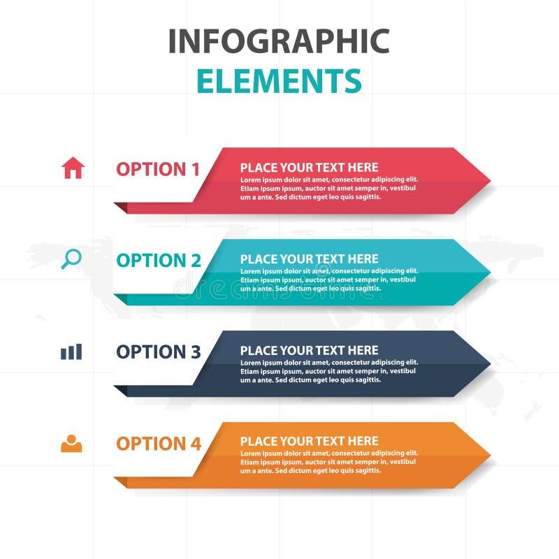 De abstracte kleurrijke elementen pijl bedrijfs van Infographics, vlakke het ontwerp vectorillustratie van het presentatiemalplaa stock illustratie