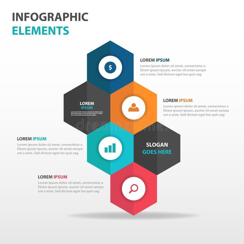 De abstracte kleurrijke hexagon elementen bedrijfs van Infographics, vlakke het ontwerp vectorillustratie van het presentatiemalp stock illustratie