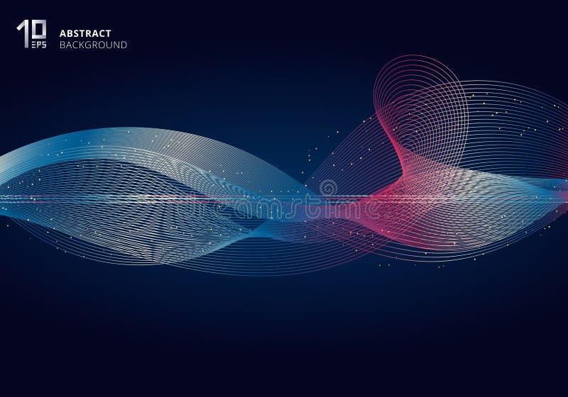 De abstracte kleurrijke lichte futuristische stijl van de lijnengolf op donkerblauwe achtergrond met goud schittert stock illustratie