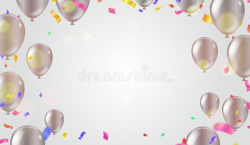 De abstracte Kleurrijke linten van Carnaval van de confettienviering Gouden folieconfettien en ballons luxe die rijke kaart begro royalty-vrije illustratie