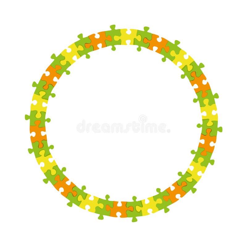 De abstracte kleurrijke van het het kaderwiel van de puzzelcirkel vectorachtergrond vector illustratie