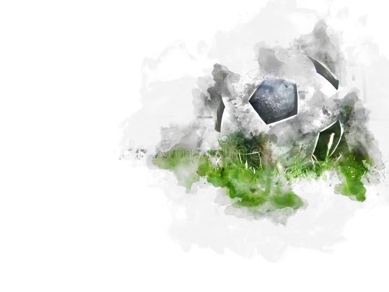De abstracte kleurrijke voetbalbal of van de voetbalbal achtergrond van de waterverfverf royalty-vrije illustratie