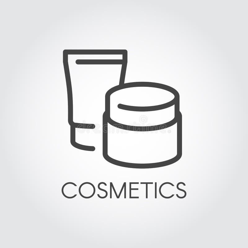 De abstracte kruiken voor lotion, room en andere zorgproducten voor gezichts of lichaam verdunnen lijnpictogram Het kosmetische e royalty-vrije illustratie