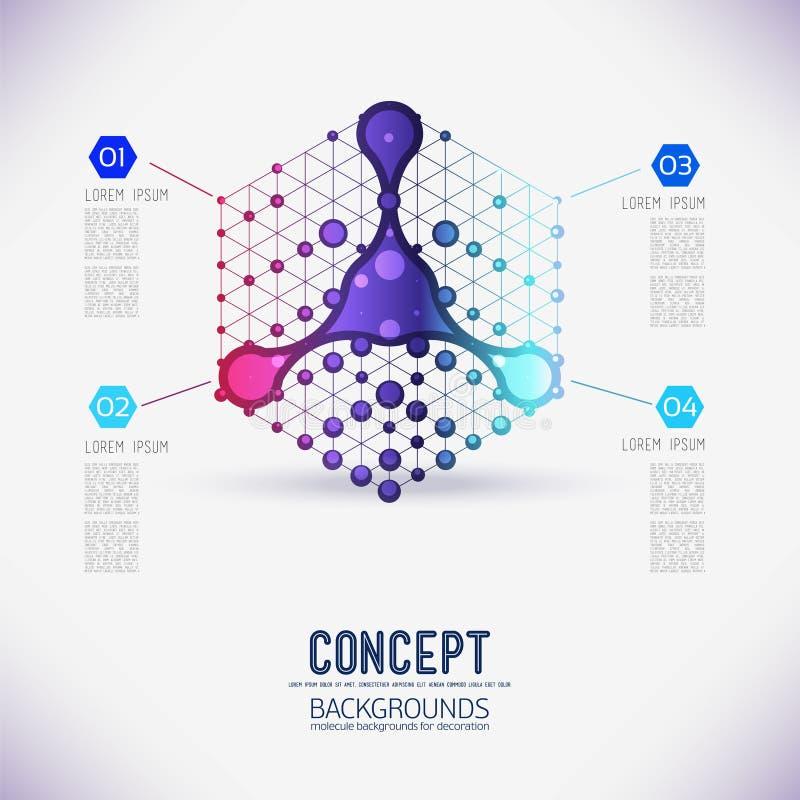 De abstracte kubus van het concepten geometrische rooster vector illustratie