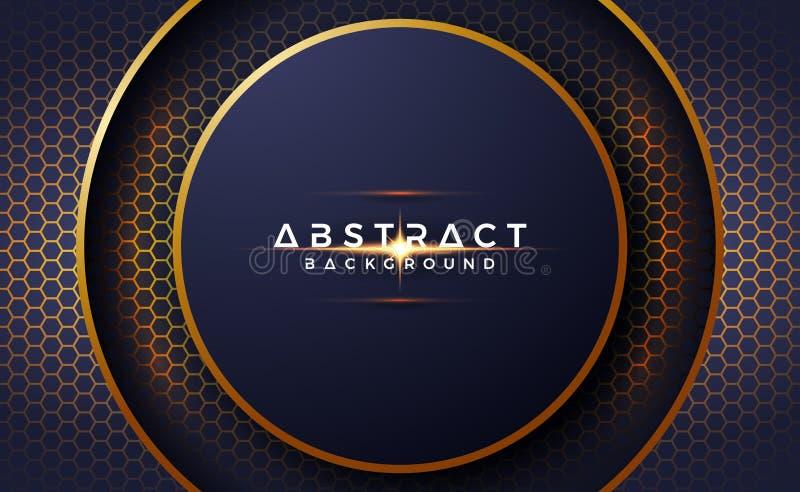 De abstracte, luxueuze, moderne, 3D cirkelachtergrond met hexagon vorm, kan voor uw tekst en andere media worden gebruikt royalty-vrije illustratie