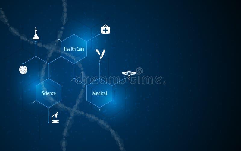 De abstracte medische van het de innovatieconcept van de gezondheidszorgwetenschap achtergrond van het de structuurontwerp molecu royalty-vrije illustratie