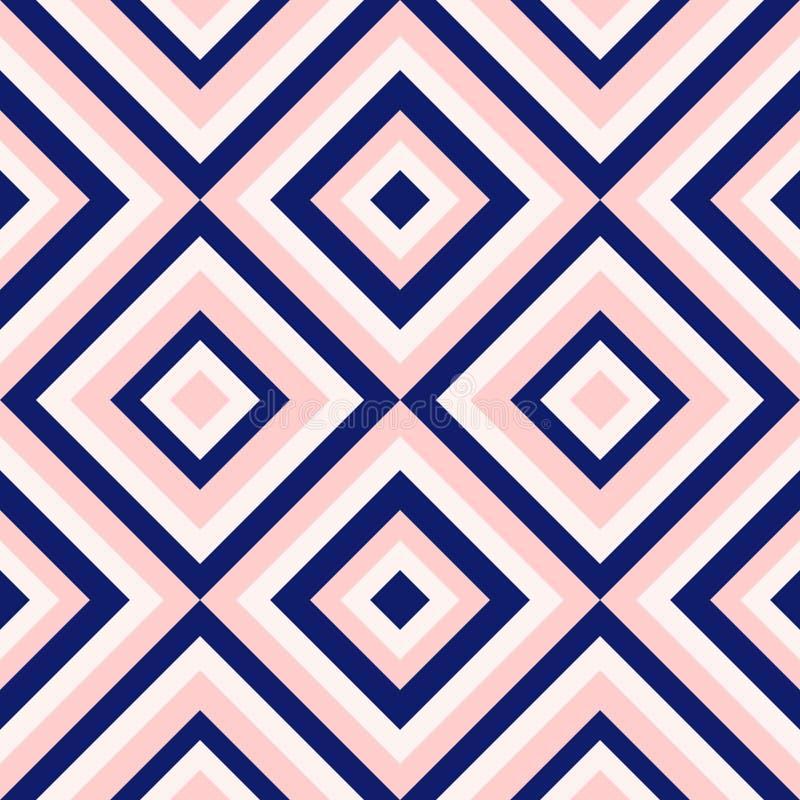 De abstracte meetkunde in marineblauw en bloost roze, de manierpatroon van de diamantvorm royalty-vrije illustratie