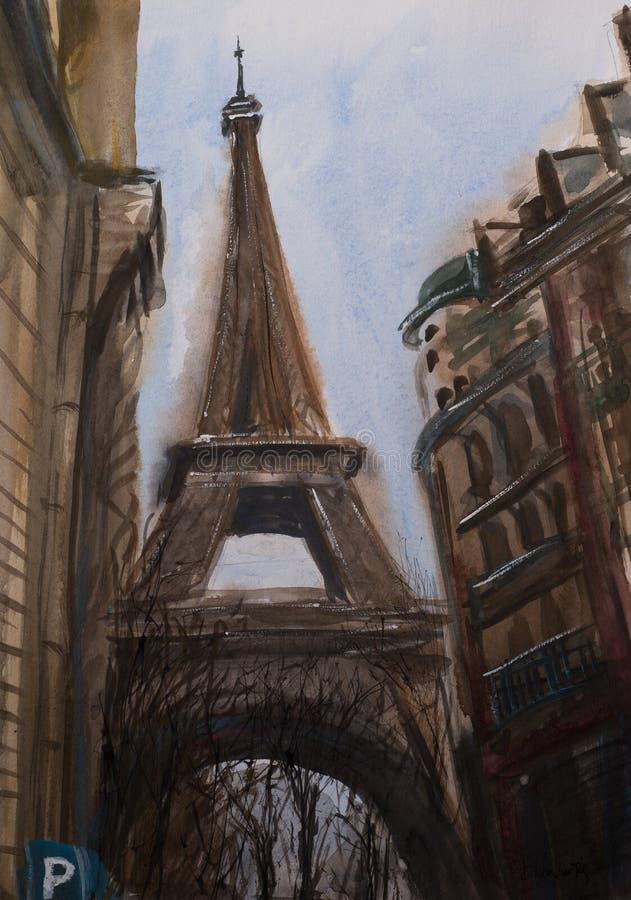 De abstracte mening van de waterverfschets van de toren van Eiffel vector illustratie