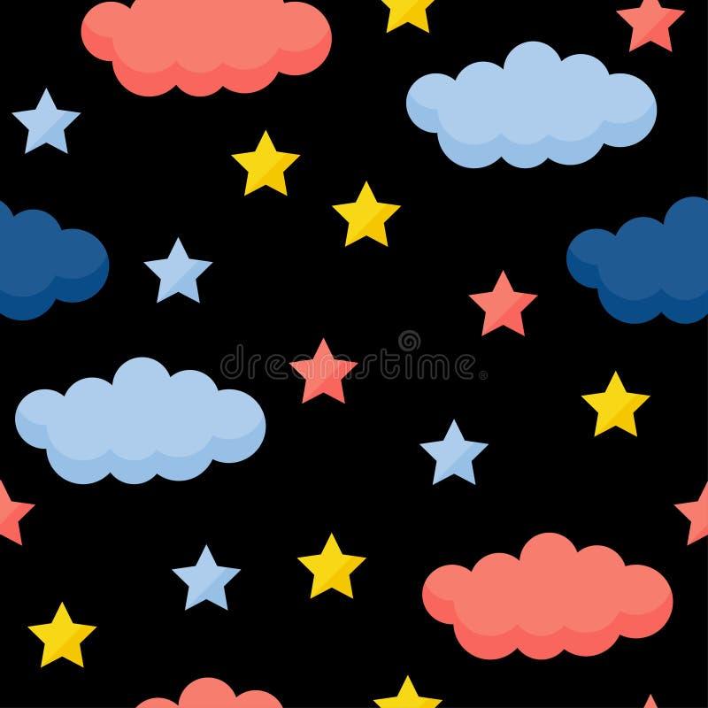 De abstracte met de hand gemaakte achtergrond van het ster naadloze patroon Kinderachtig handcrafted behang voor ontwerpkaart, ba vector illustratie