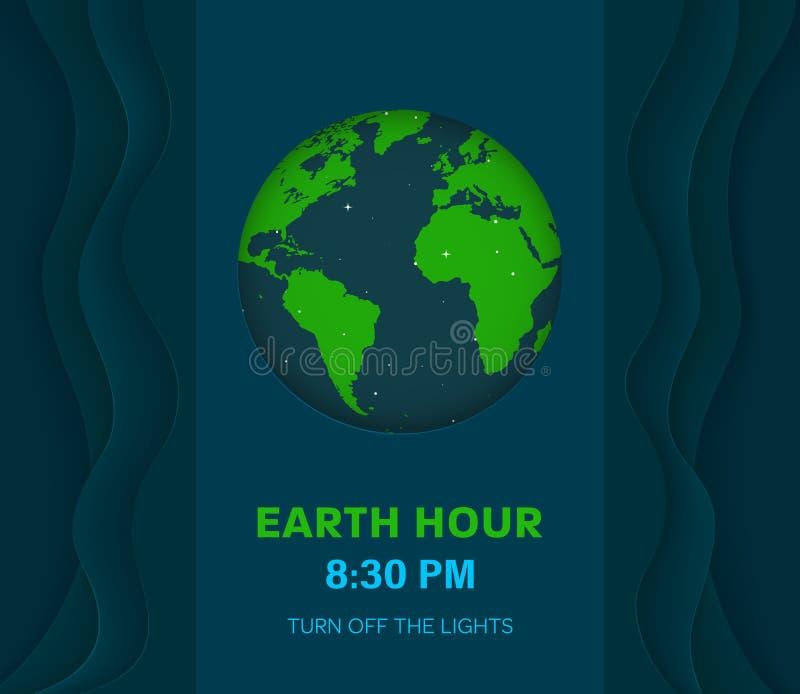 De abstracte minimale donkerblauwe achtergrond van het aardeuur met golven met 3d effect Donkere gekleurde Aardeplaneet in Ruimte royalty-vrije illustratie
