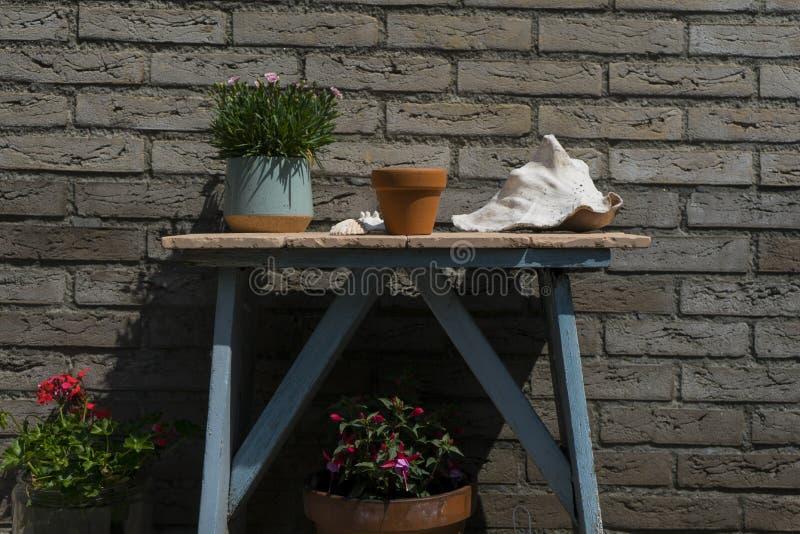 De abstracte minimalistic lijst van de tuindecoratie Met achtergrond van de huisbaksteen en weinig installatiepotten rond kleine  stock afbeelding