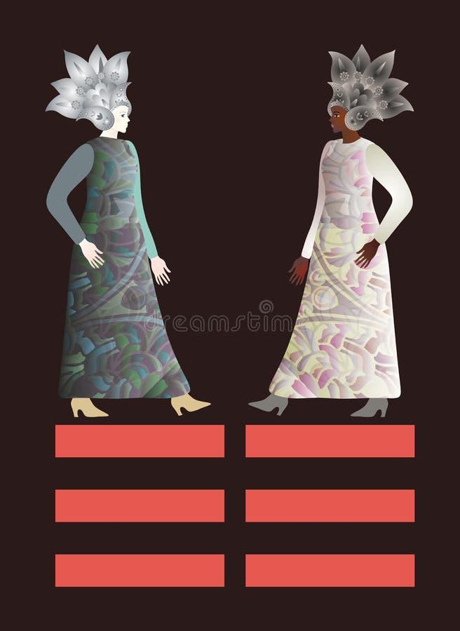 De abstracte modellen van maniermeisjes in de bloemenhelmen van Paisley Afrikaanse en Europese die wijfjes op zwarte achtergrond  stock illustratie