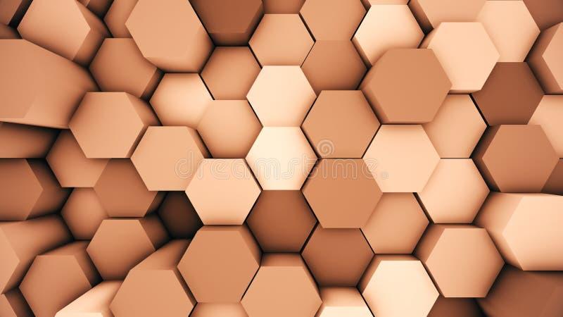 De abstracte moderne achtergrond van de hexuitdraaioppervlakte Oranje hexagonale 3D illustratie royalty-vrije illustratie