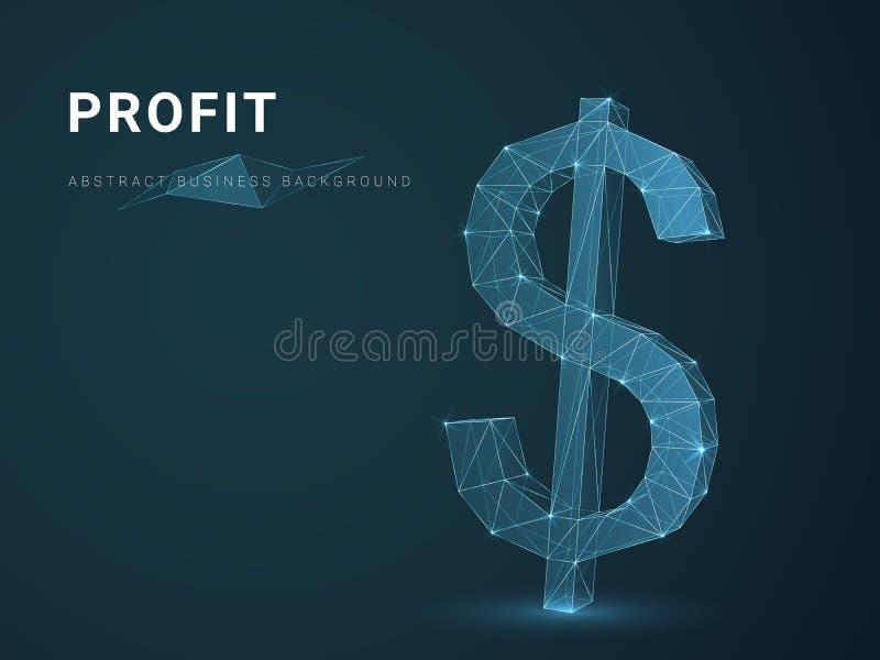 De abstracte moderne bedrijfsvector die als achtergrond winst met sterren en lijnen in vorm van een dollar afschilderen onderteke stock illustratie