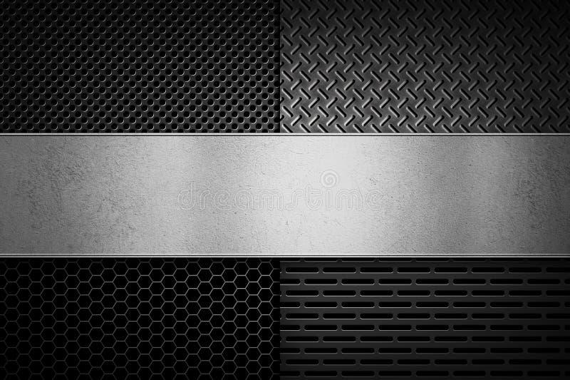 De abstracte moderne grijze geperforeerde textuur van de metaalplaat royalty-vrije illustratie