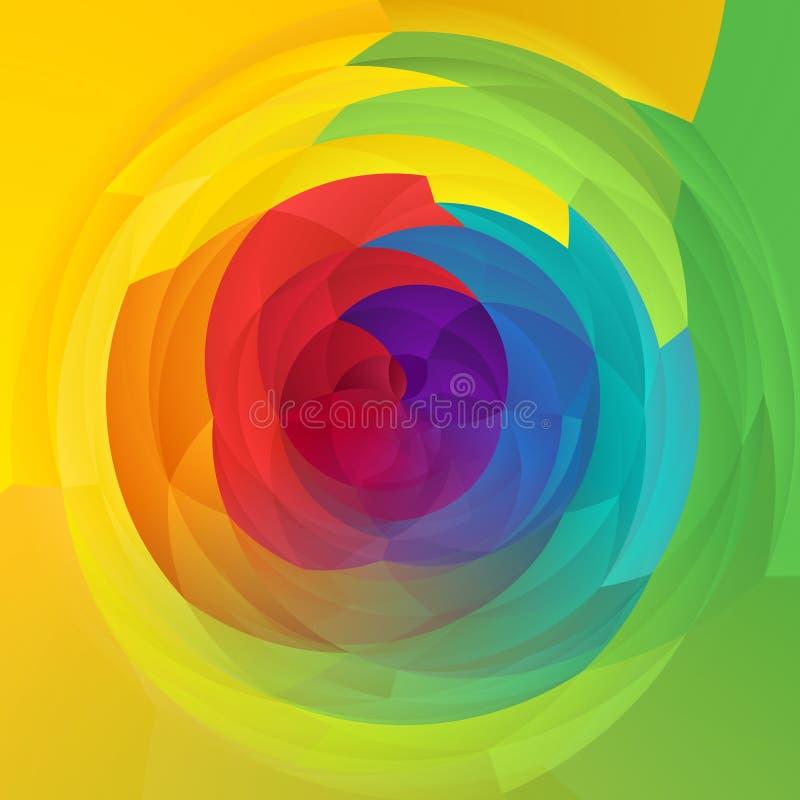 De abstracte moderne van de achtergrond kunst geometrische werveling spectrumregenboog kleurde - verse de lentekleur royalty-vrije illustratie