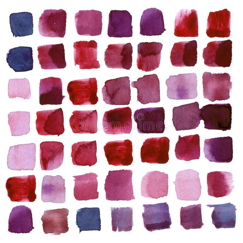 De abstracte, moderne waterverf regelde slagen van heldere rode, roze en lilac kleuren royalty-vrije illustratie