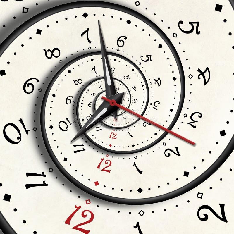 De abstracte Moderne witte spiraalvormige klokfractal wijzerswijzers verdraaiden klokken letten op ongebruikelijke abstracte text royalty-vrije illustratie