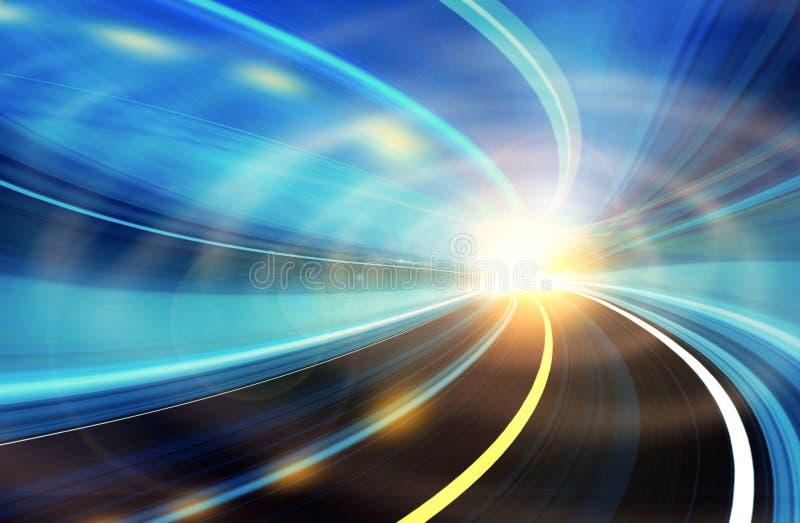 De abstracte motie van de Snelheid op een wegweg stock illustratie
