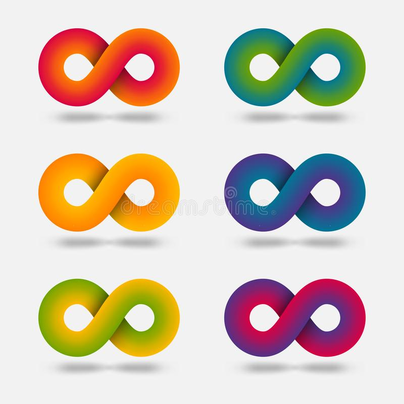De abstracte multicolor tekenset van de oneindigheid vector illustratie